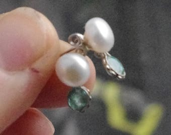 Natural Freshwater Pearls and Faceted Natural Emeralds in Sterling Silver findings and studs