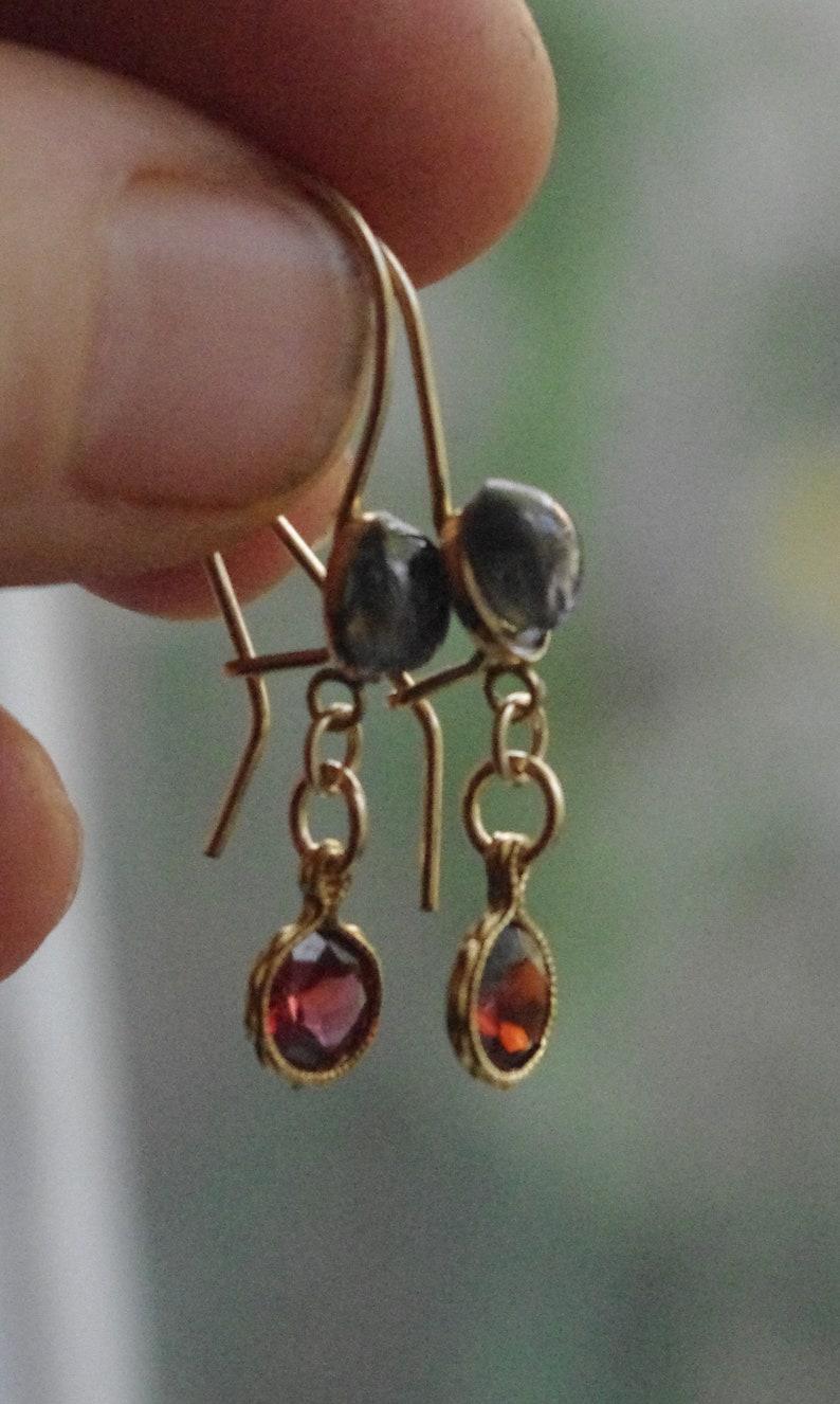 Natural Pink Rhodolite Garnets and Spinel drop earrings Gold filled