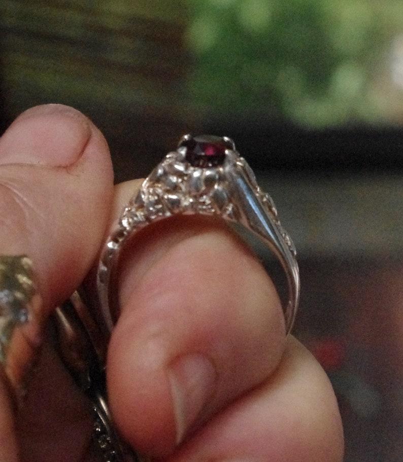 Natural Rhodolite Garnet in Boulder design Sterling Silver Ring