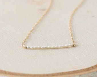 Pearl bar necklace, gold layered necklace, seed pearl necklace, delicate pearl necklace, dainty pearl, tiny pearl necklace, minimalist