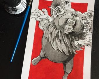Pug Monster - 9x6 Original Ink Drawing