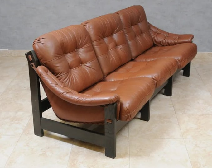 Featured listing image: Jean Gillon Three Seater Leather & Oak Sofa, 1970s