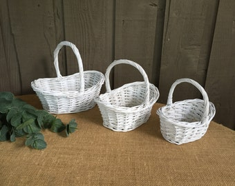 Flower girl baskets etsy white willow baskets 3 sizes flower girl baskets baskets for flower girls willow baskets wedding baskets diy basketsdecorate yourself mightylinksfo