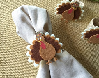 4 Turkey napkin rings/burlap napkin rings/Thanksgiving napkin rings/ napkin rings/ whimsical napkin rings/ turkey decor/ tablescaping/turkey