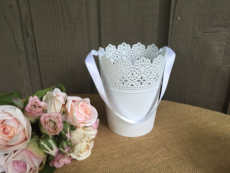 Vintage White Lace basketlace flower girl basket lace basket metal lace flower girl basket rustic flower girl basket  industrial basket