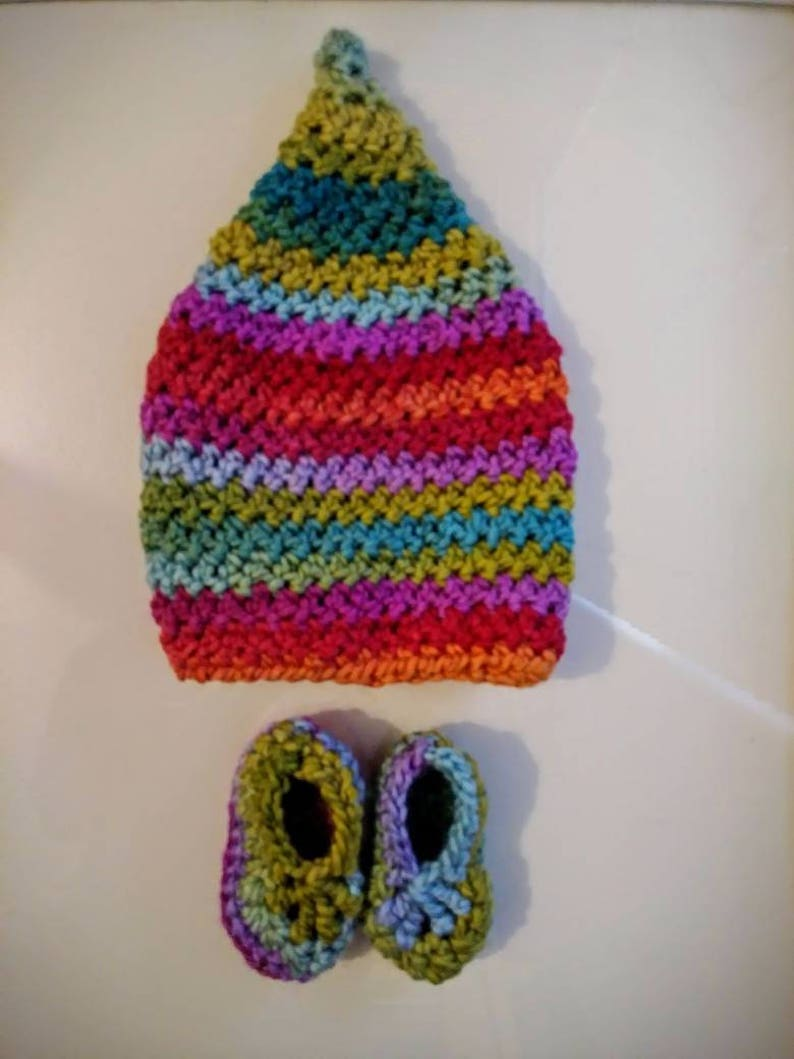 0-6 months Pixie baby hat and bootie set Petrabaye