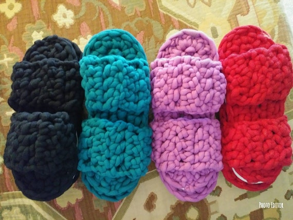 Crochet Slippers With Soles Petrabaye Etsy