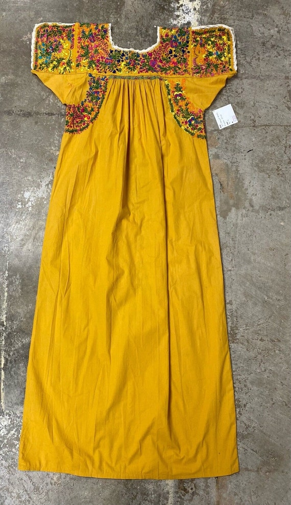 Vintage Hand Embroidered Mexican Huipil Dress