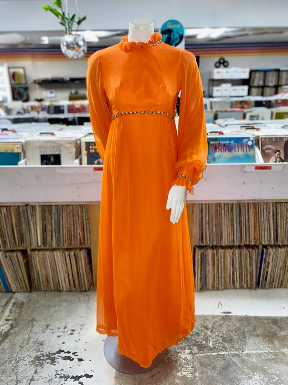 Late 60s Orange Vintage Retro Prairie Chiffon Dres