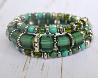 Green Cane Glass Memory Wire Bracelet