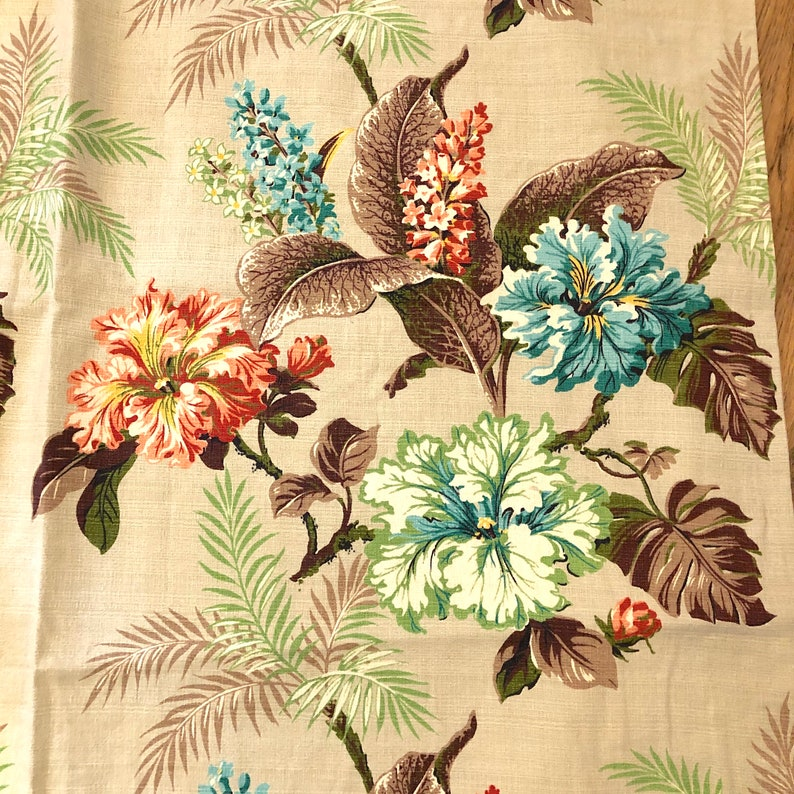 Matching Vintage Lined Barkcloth Pleated Curtains; Curtain Panels;