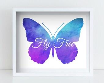 Butterfly Watercolor Printable, Printable Wall Art, Nursery Decor, Wall Decor, Home Decor Poster