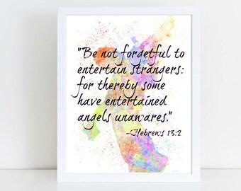 Hebrews 13:2 Bible Verse Printable Art, Instant Download