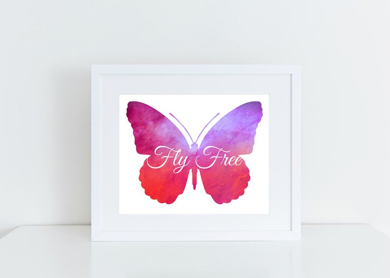 image regarding Printable Butterfly Pictures named Butterfly Watercolor Printable, Printable Wall Artwork, Nursery Decor, Wall Decor, Property Decor Poster