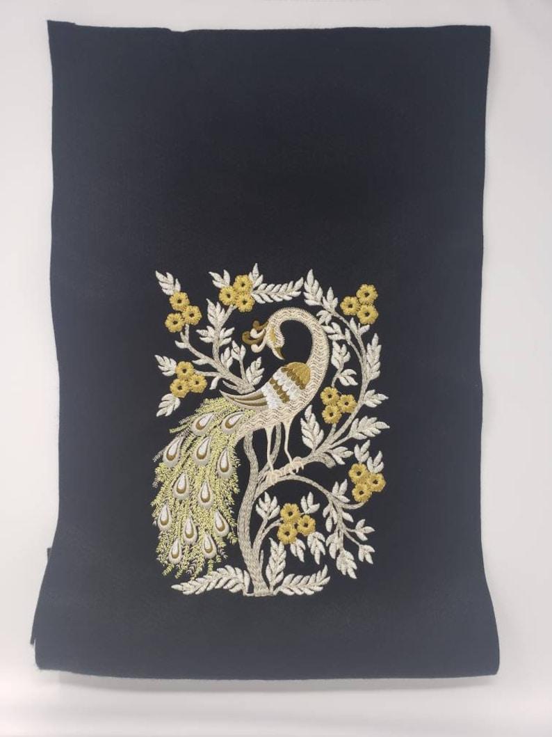 Beautiful Embroidered Peacock on felt