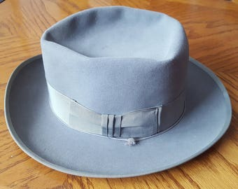 RESISTOL HATS - Harry Rolnick - Men s Fedora Hat - Gray - Small Size 6    3 4 Vintage 1950s 61eb961a76c8