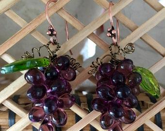 Luscious dark purple grape Czech glass cluster earrings