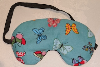 Handmade Turquoise Butterfly Sleep Eye Mask Blindfold Hen Stag Blackout Migraine