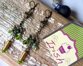 Irish Bullet Shell Earrings,Irish Earrings,Bullet Earrings,Celtic Knot Earrings,Celtic Earrings,Irish Knot Earrings,Green Dangle Earrings