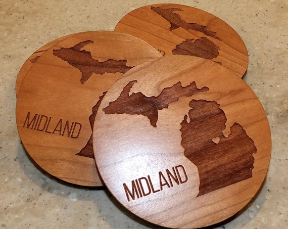 Wooden State Coasters with State and City Engraved on Cherry Wood. Patio-Home Decor-Man Cave-Housewarming Gift-Dining Room