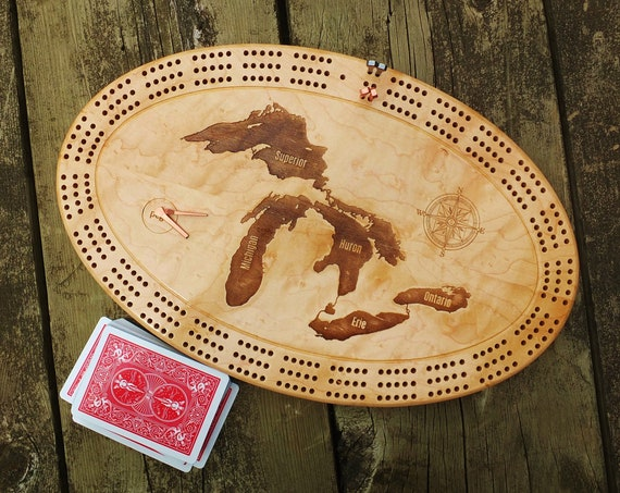 Engraved Custom Cribbage Board with Metal Pegs. Solid Maple.