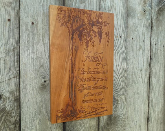 Wooden Family Sign Engraved with Family Name in Cherry, Walnut, Maple or White Oak Wood.