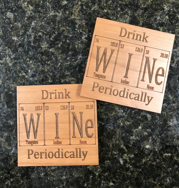 Periodic Table Inspired Drink Wine Periodically Wooden Coasters. Available in Cherry. Living Room-Home Decor-Home Bar-Bar Decor