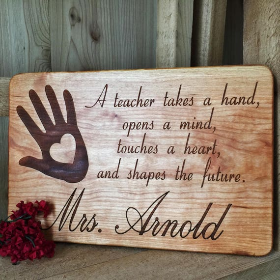 Personalized Wooden Teacher Gift Engraved with Name in Cherry, Maple, Walnut and White Oak Wood.