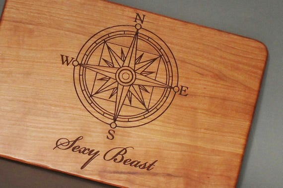Personalized Nautical Cutting Board Engraved with Boat Name in White Oak, Cherry, Walnut or Maple Wood.