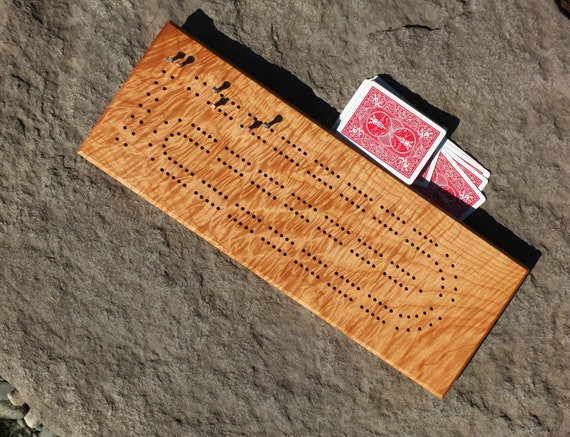 Cribbage Board with Metal Pegs. Solid Western Quilted Maple. Father's Day-Man Cave-Personalized-Groomsman Gift-Gift for Guy