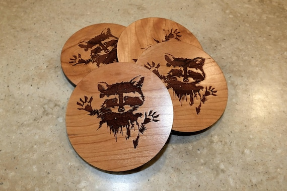 Wooden Raccoon Coasters with  Raccoon Engraved on  Cherry Wood. Home Bar-Home Decor-Patio-Housewarming Gift-Man Cave-Living Room