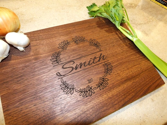 Custom Cutting Board Engraved with Name & Wedding or Anniversary Date. Wooden Cutting Board - Cheese Board - Chopping Board - Wedding Gift