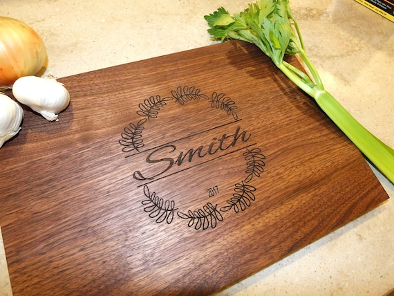 Personalized Last Name Cutting Board Engraved with Name & Wedding or Anniversary Date in Maple, Walnut, Cherry or White Oak Wood.