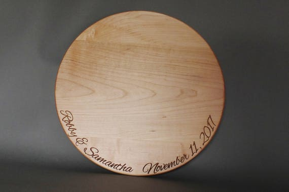 Personalized Wood Cake Stand or Cutting Board Engraved with Couples Name and Date in Cherry, Walnut, White Oak or Maple Wood.