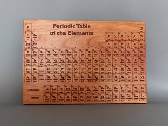 Large Periodic Table Cutting Board. Periodic Table Engraved on Maple, Walnut, Cherry or White Oak Wood.