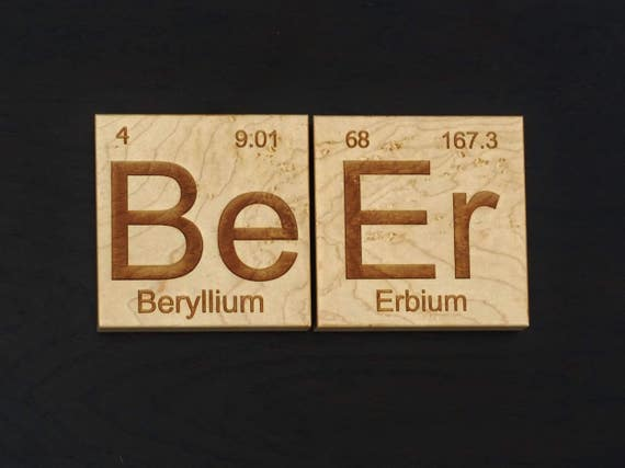 Wooden Beer Coasters. Gift for Dad - Groomsman Gift - Chemistry - Science - Periodic Table - Beer Lover - Craft Brewer - Geek - Nerd