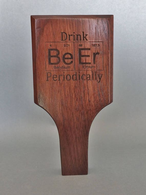 Periodic Table Inspired Engraved Tap Handle Available in Walnut, Cherry, White Oak or Maple.