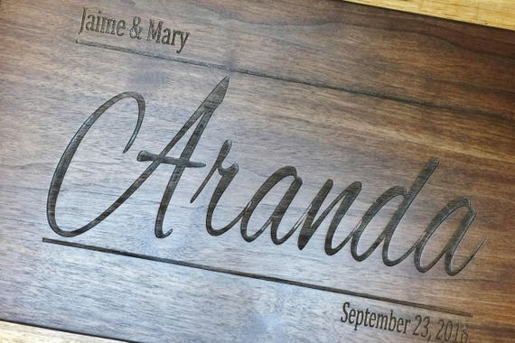 Personalized Wooden Cutting Board Engraved with Name and Date.  Wedding Gift - Anniversary Gift - Shower Gift - Cheese Board