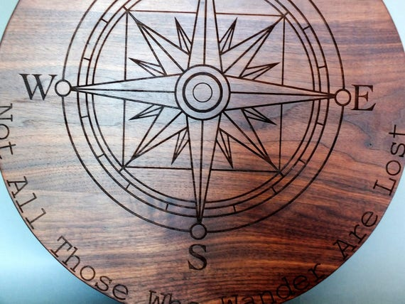 Compass Wood Cutting Board Engraved with Name in White Oak, Walnut, Cherry and Maple Wood.