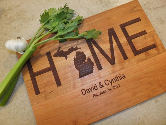Home State Wood Cutting Board Engraved with Couples Names, Date and State in Walnut, Maple, Cherry or White Oak Wood. Kitchen Decor