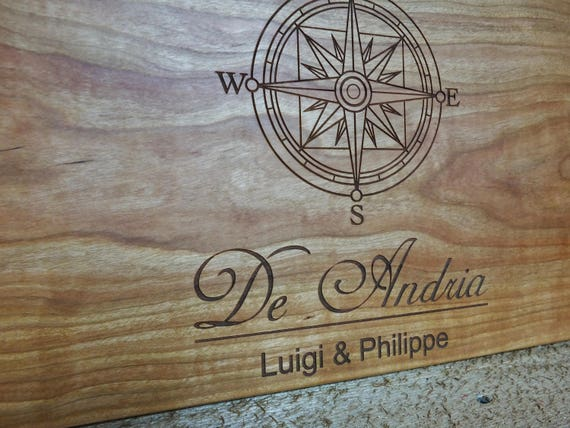 Personalized Nautical Wood Cutting Board Engraved with Names in White Oak, Walnut, Cherry and Maple Wood.