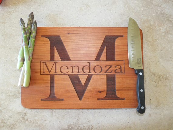 Personalized Cutting Board with Last Name and Initial in Maple, Walnut, Cherry and White Oak Wood. Wedding Gift-Anniversary Gift-Shower Gift