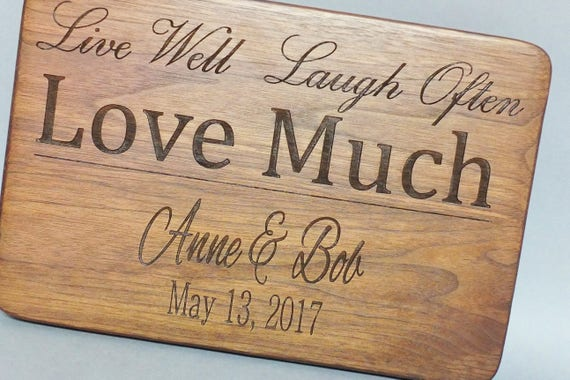 Live Well Laugh Often Love Much Personalized Cutting Board Engraved with Names & Date. Wedding Gift-Wood Cutting Board-Couple Gift
