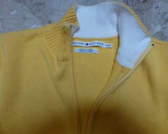 TOMMY yellow fitted xl zippered sweater cardigan jumper,jacket made in japan