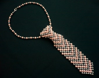 light grey-light pink beadwork necktie necklace, beaded women's tie, glass pearl necklace, pearl jewelry, pearl necklace