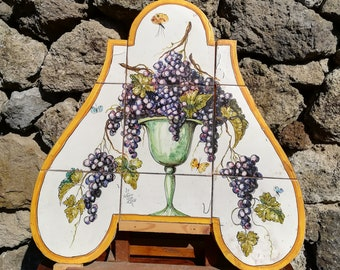 Ceramic wall panel with grapes