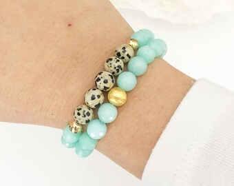 JANE | Beaded Bracelet Set, Bead Bracelet Set, Stackable Bead Bracelets, Beaded Bracelet Stack, Amazonite Dalmatian Jasper Bracelets, Boho