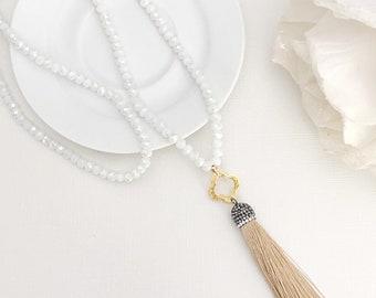 SPARKLE} Tassel Necklace, Long Tassel Necklace, Tassel Pendant Necklace, Beaded Necklace, Long Necklace, Beaded Tassel Necklace, Statement