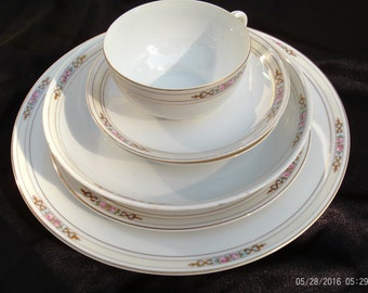 Noritake M Ansonia China,China Set,Fine China,Bone China,Discontinued,Vintage China,1914-1940 Circa,Hand painted,Six Piece Serving Set,China