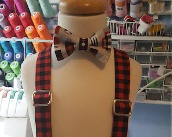 Lumberjack Style. Boy's Tie, Bow Tie or Suspenders,  Buffalo Plaid, Thermos, Burly Beavers